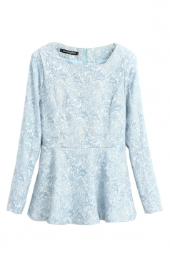 Blue Womens Sexy Embossed Ruffle Long Sleeve Peplum Top