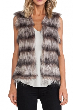 Brown Pretty Womens Sleeveless Gradient Faux Fur Vest