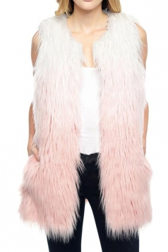 Pink Pretty Womens Warm Gradient Faux Fur Vest