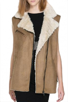Brown Charming Ladies Sleeveless Zipper Suede Vest