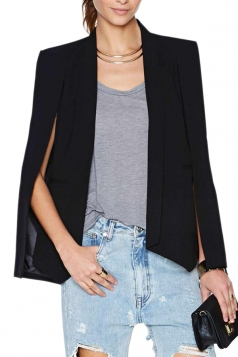 Black Pretty Womens Opened Sleeve Cape Blazer