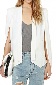 White Pretty Womens Opened Sleeve Cape Blazer