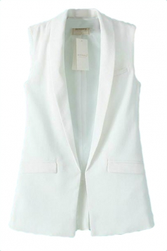White Trendy Womens Slimming Sleeveless Business Suit Vest