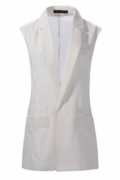 White Pretty Ladies Sheer Patchwork Business Suit Vest