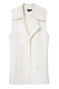 White Charming Womens Double-breasted Business Vest