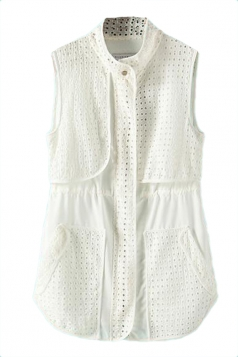 White Charming Ladies Cut Out Embroidered Vest