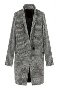 Gray Modern Womens Swallow Gird Patterned Winter Tweed Coat