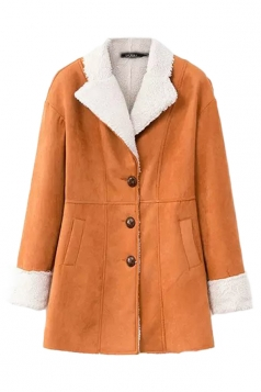 Orange Elegant Ladies Fur Turndown Collar Cardigan Warm Over Coat