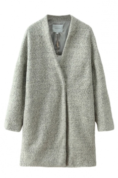 Gray Stylish Womens Woolen Long Sleeve Winter Plain Tweed Coat