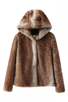 Coffee Sexy Womens Winter Hooded Fur Warm Wool Coat