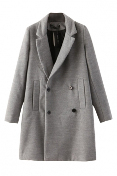 Gray Elegant Womens Winter Turndown Collar Warm Over Coat