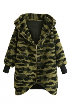 Green Sexy Womens Winter Camouflage Hooded Warm Duffel Coat