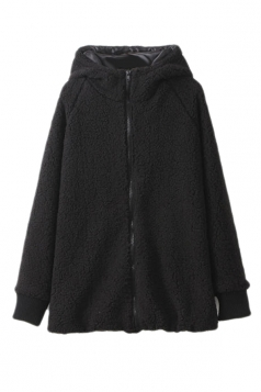 Black Cute Ladies Plain Winter Warm Hooded Bear Ear Lamb Wool Coat
