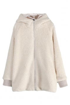 White Cute Ladies Plain Winter Warm Hooded Bear Ear Lamb Wool Coat