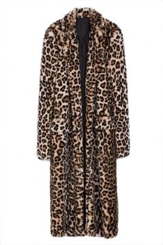 Brown Trendy Ladies Charming Leopard Faux Fur Coat