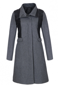 Gray Fashion Womens Charming PU Patchwork Tweed Coat