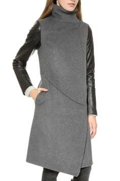 Gray Womens Fashion Irregular Hem PU Patchwork Tweed Coat