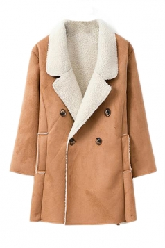Khaki Womens Fashion Long Sleeves Warm Winter Pea Suede Coat