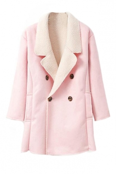 Pink Womens Fashion Long Sleeves Warm Winter Pea Suede Coat