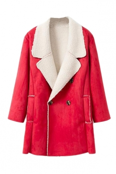 Red Womens Fashion Long Sleeves Warm Winter Pea Suede Coat