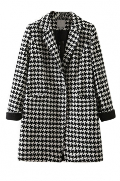 Black and White Stylish Ladies Swallow Gird Pattern Tweed Coat