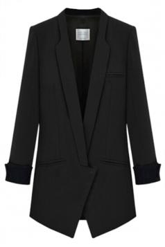 Black Stylish Womens Suit Plain Skinny Office Lady Blazer
