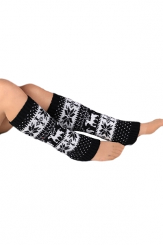 Black Classic Womens Snowflake Christmas Knitted Leg Warmers
