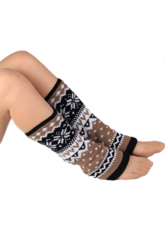Khaki Cute Ladies Warm Snowflake Christmas Knitted Leg Warmers