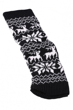 Black Stylish Ladies Reindeer Christmas Knitted Leg Warmers