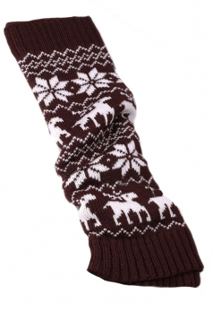 Coffee Stylish Ladies Reindeer Christmas Knitted Leg Warmers
