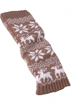 Khaki Stylish Ladies Reindeer Christmas Knitted Leg Warmers