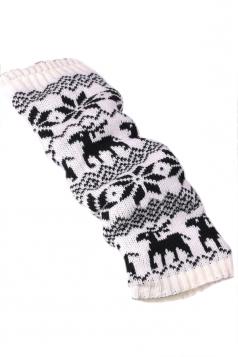 White Stylish Ladies Reindeer Christmas Knitted Leg Warmers