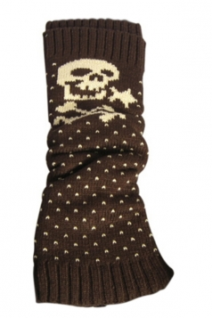Coffee Sexy Womens Christmas Skull Polka Dot Knitted Leg Warmers