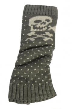 Gray Sexy Womens Christmas Skull Polka Dot Knitted Leg Warmers