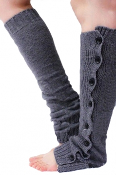 Gray Pretty Ladies Lace Button Knitted Leg Warmers
