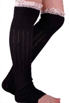 Black Charming Ladies Lace Design Knitted Leg Warmers