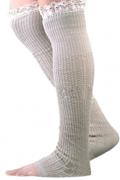 Khaki Charming Ladies Lace Design Knitted Leg Warmers