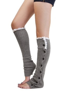 Gray Fashion Womens Button Lace Warm Knitted Leg Warmers