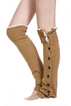 Khaki Fashion Womens Button Lace Warm Knitted Leg Warmers