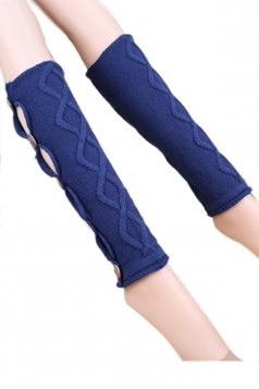 Blue Pretty Ladies Argyle Lace Button Knitted Leg Warmers