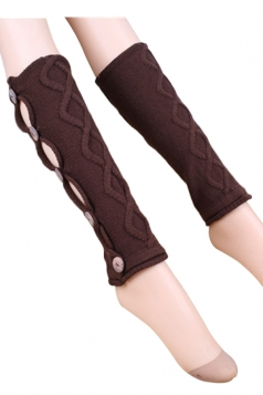 Coffee Pretty Ladies Argyle Lace Button Knitted Leg Warmers