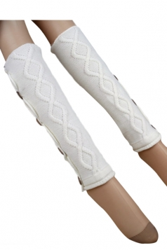 White Pretty Ladies Argyle Lace Button Knitted Leg Warmers