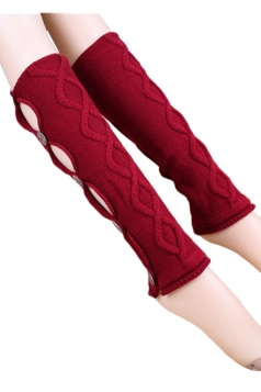 Ruby Pretty Ladies Argyle Lace Button Knitted Leg Warmers