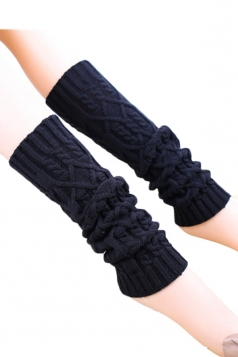 Black Trendy Womens Warm Winter Argyle Knitted Leg Warmers