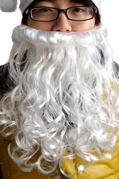 White Cool Womens Santa Claus Beard Christmas Accessory