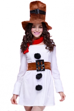 White Funny Womens Long Sleeve Dress Christmas Snowman Costume