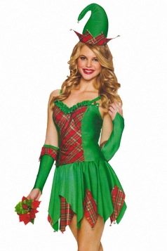 Green Pretty Womens Christmas Fairy Santa Helper Costume