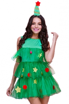 Green Cute Womens Christmas Tree Pleated Elf Santa Helper Costume