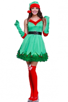 Green Pretty Ladies Elf Christmas Tree Dress Santa Helper Costume