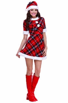 Red Chic Womens Plaid Short Sleeve Dress Christmas Santa Costume